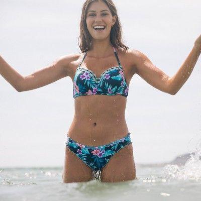 89f7a35faa20a Women s Summer Lightly Lined Lace Halter Bikini Top - Shade   Shore Navy  Tropical 36DD