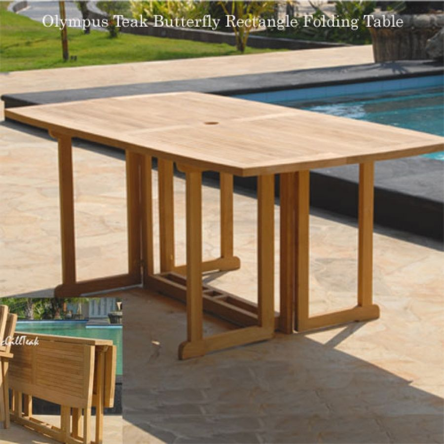 Teak Erfly Rectangle Folding Dining Table Olympus