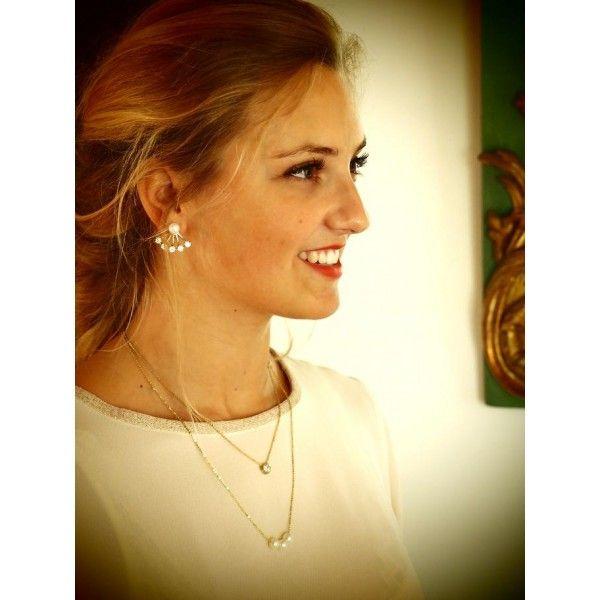 Collier double chaîne strass et perles fantaisie - ELINORA BIJOUX