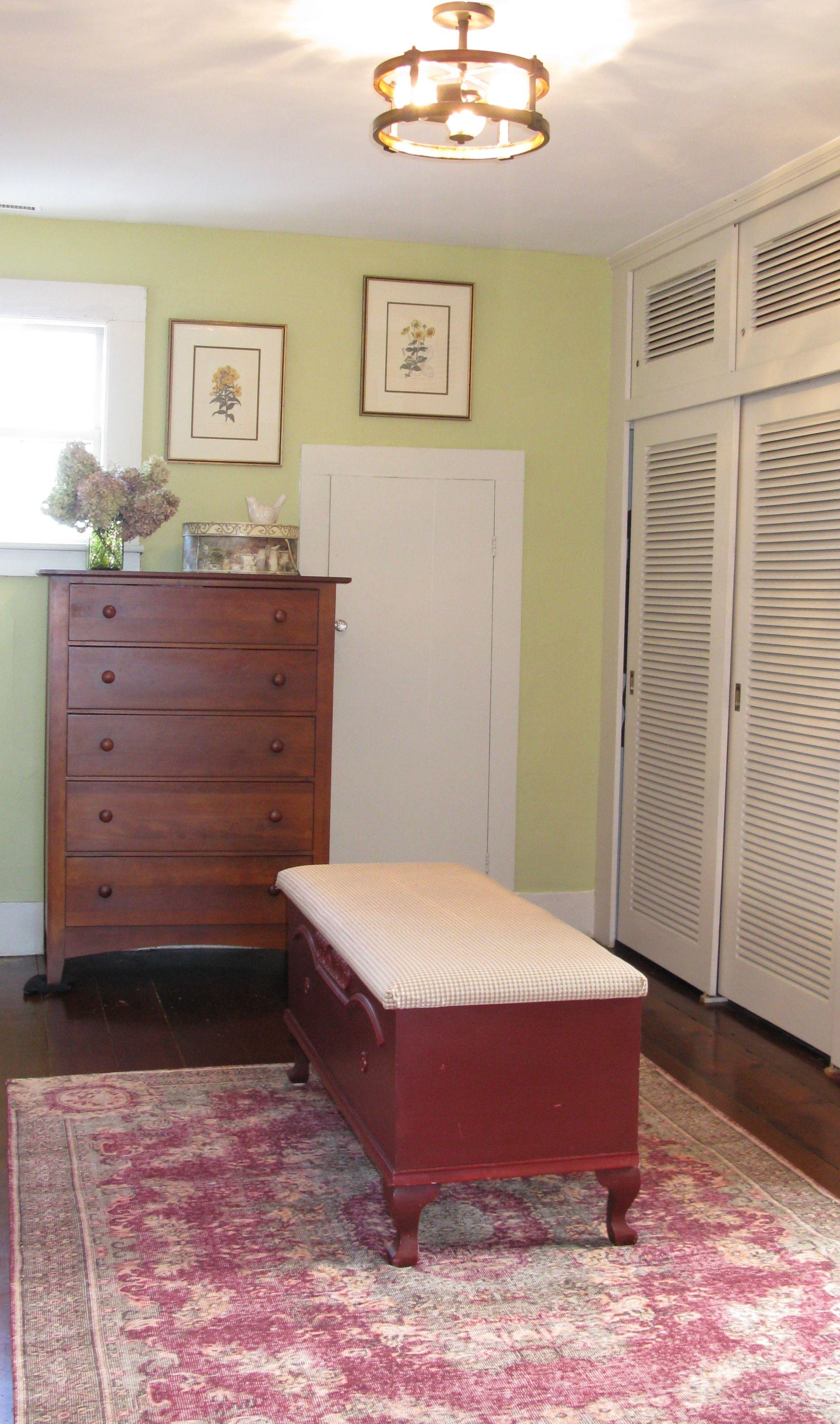Walk in closet, dressing room, mint green, farmhouse