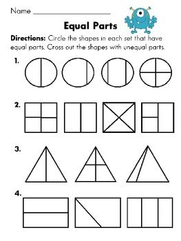equal parts or not equal parts worksheet fun with fractions first  equal parts or not equal parts worksheet fun with fractions first grade  common core packet