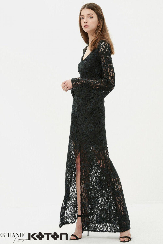 Koton Dilek Hanif Yesil Uzun Dantel Abiye Elbise Elbisebul 2020 Elbise Dantel Moda Stilleri