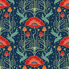 Colorful fabrics digitally printed by Spoonflower - art nouveau poppy red wallpaper