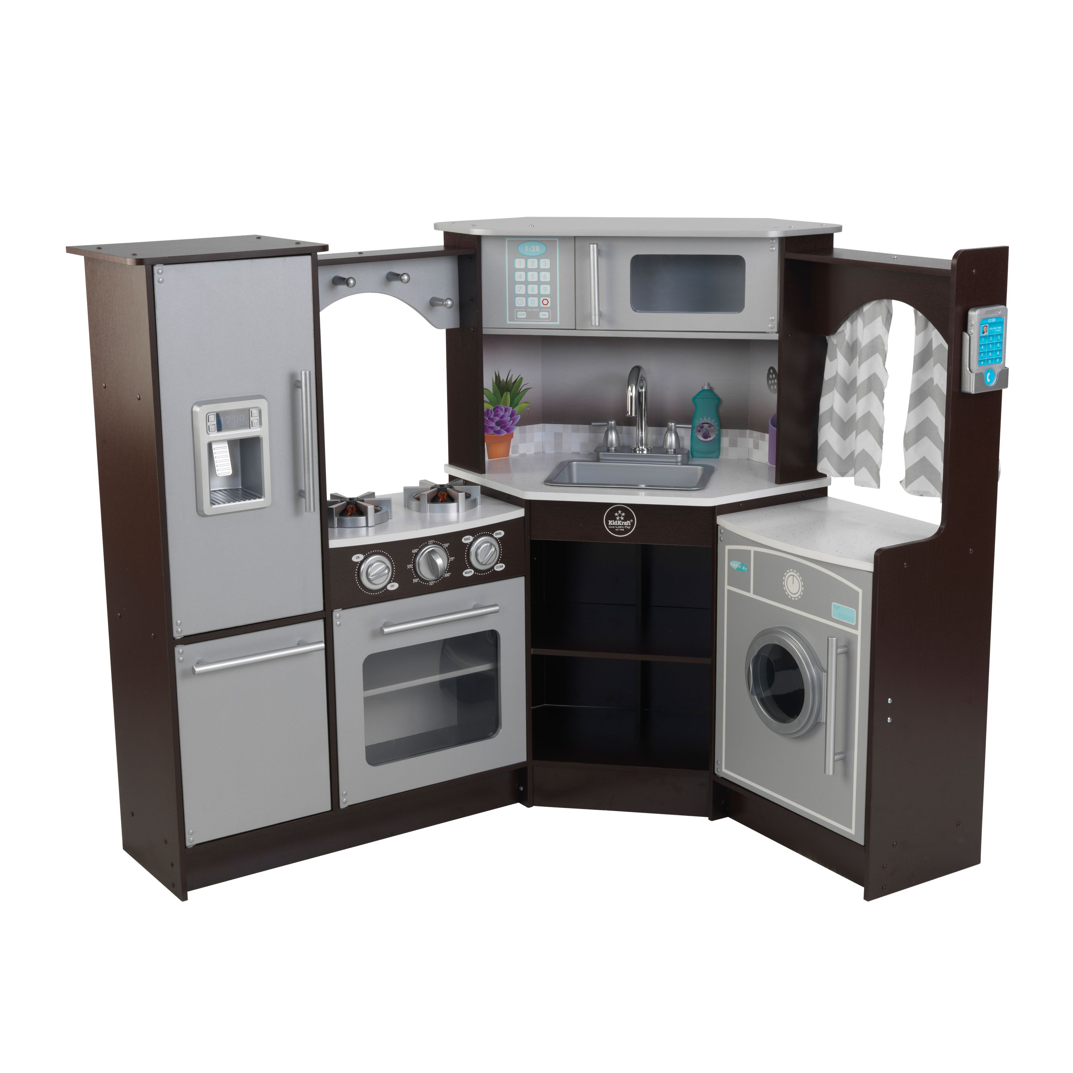 Kidkraft Ultimate Corner Play Kitchen With Lights And Sounds Grey