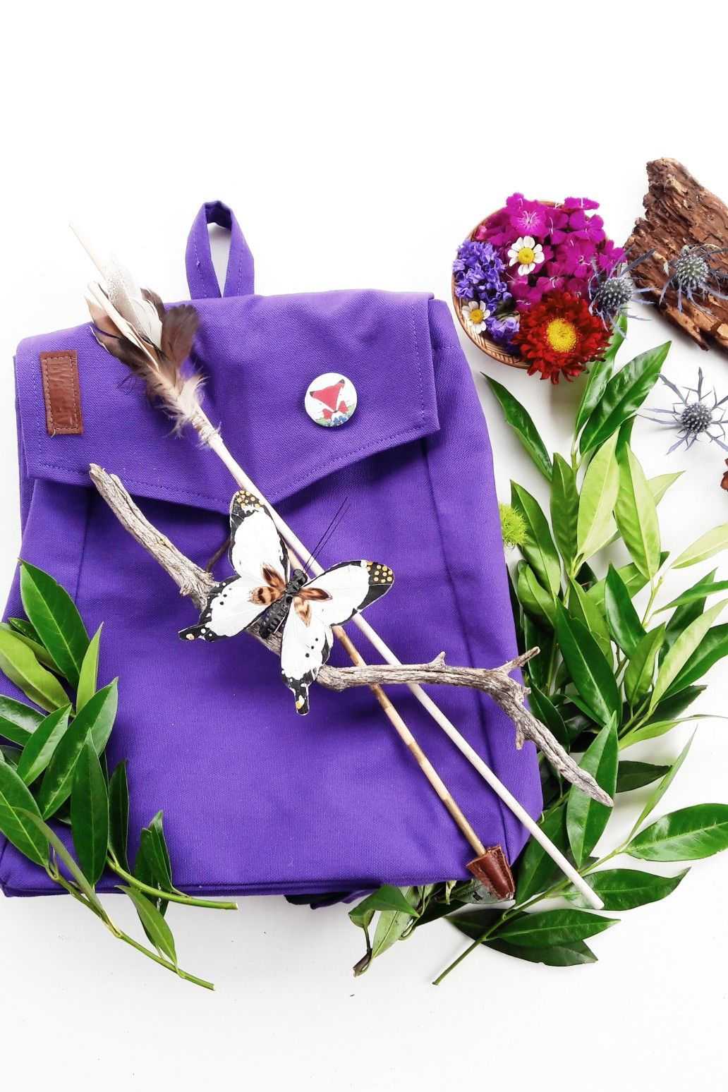 252c0a7487d3 Cascade Handmade   Adventure Backpack   Always ready to explore with this  sturdy outdoor gear for kids  Purple backpack for kids in nature flat lay