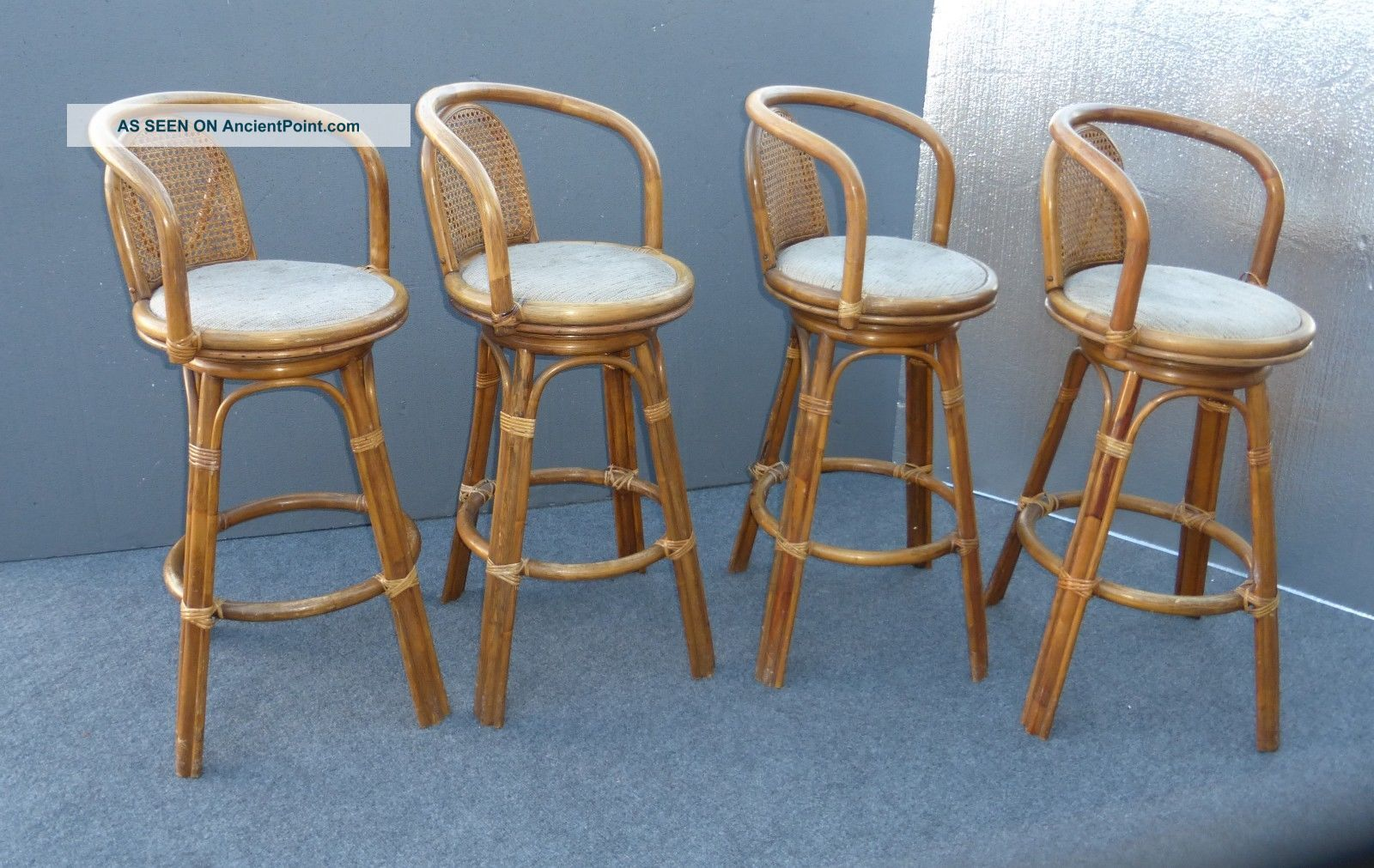Set Four Vintage Mid Century Bamboo Cane Back Bar Stools Rattan Wicker Post 1950 Photo Bar Stools Bar Stool Furniture Bar Furniture