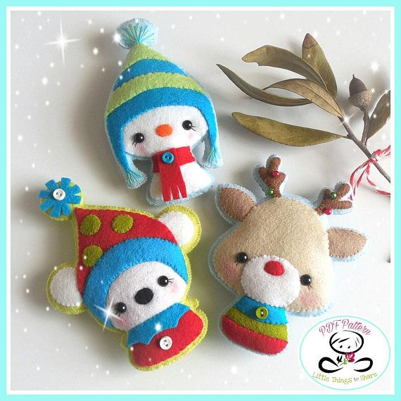 Christmas Critters-Ornament Patterns-Set of Three-DIY | Sewing ...