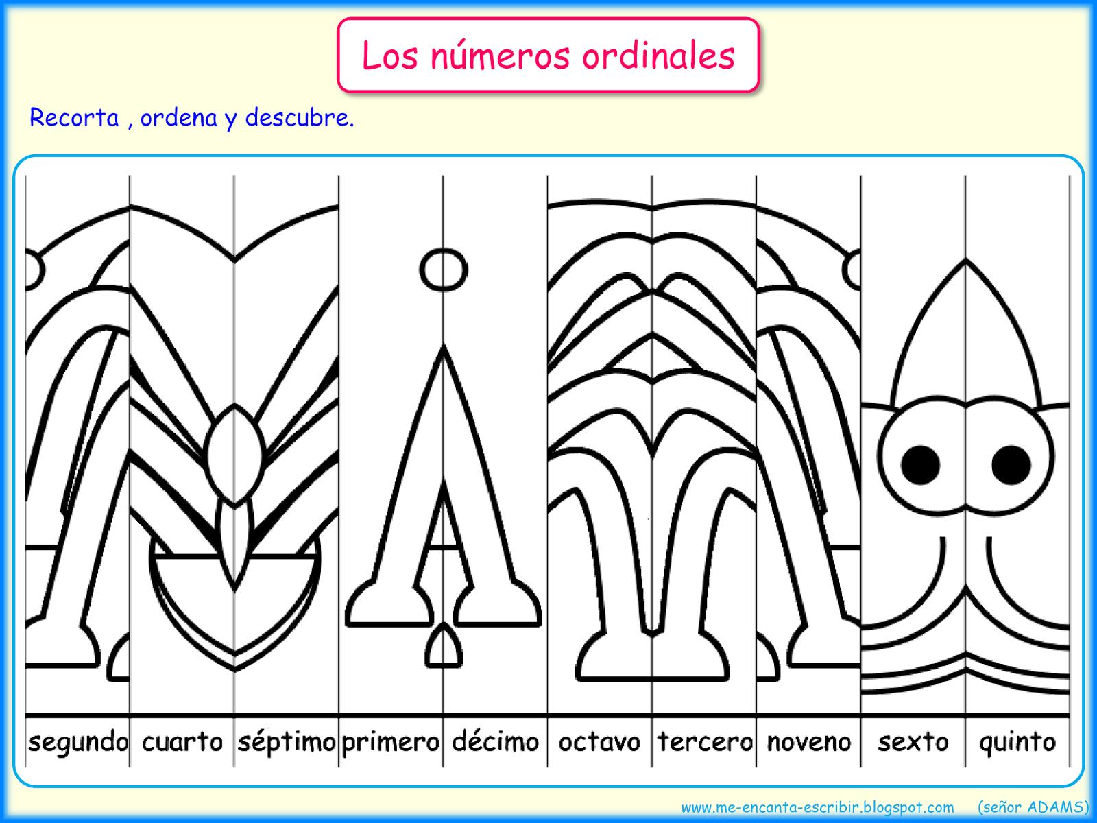 Me Encanta Escribir En Espanol Los Numeros Ordinales