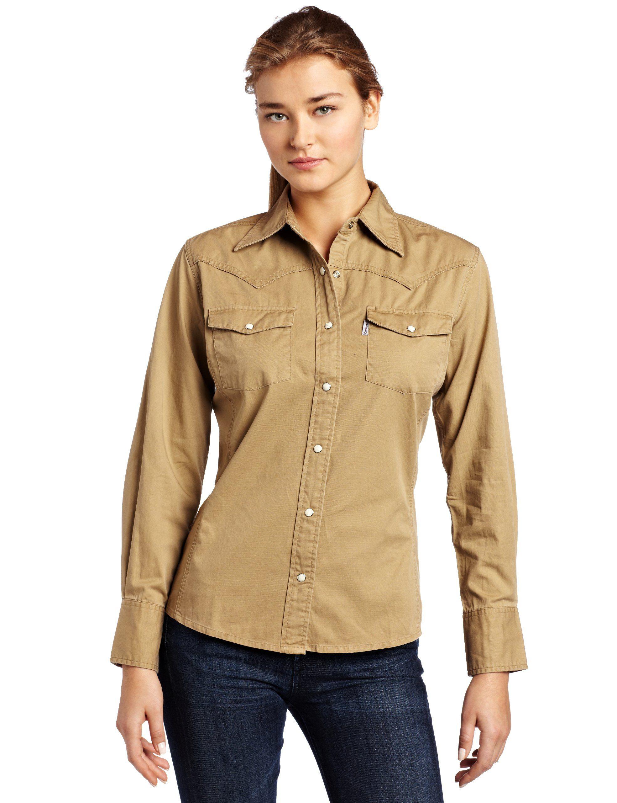 Carhartt Women's Long Sleeve Twill Snap Front Shirt, Dark Khaki, X-Small