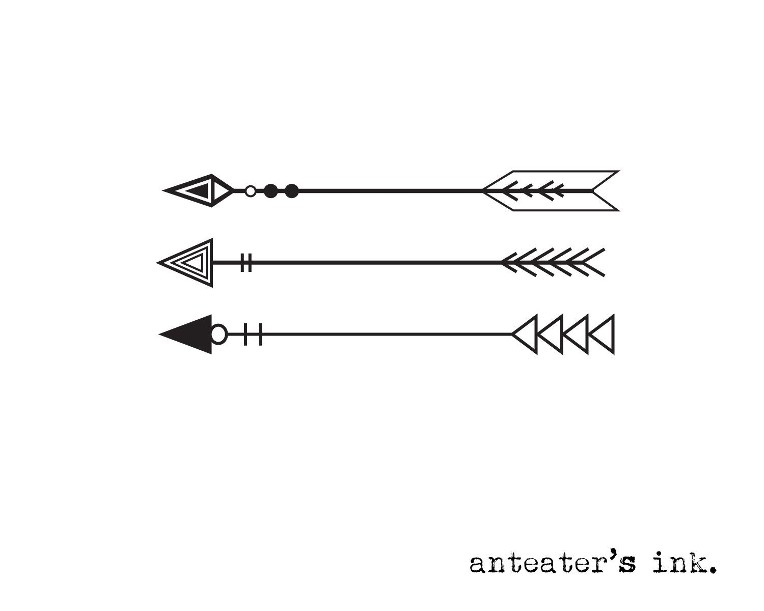 Arrow Temporary Tattoo Bow Tattoo by AnteatersInk on Etsy