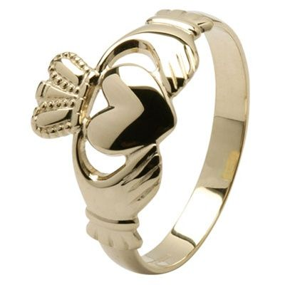 MENS GOLD Claddagh Ring MG14G10 800 Get it in white gold for Hubby