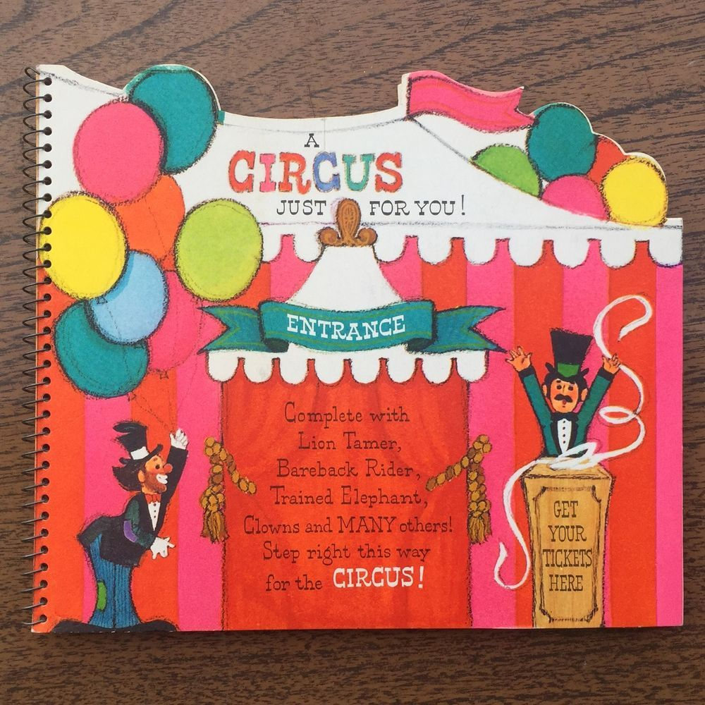 Rare Vintage Hallmark A Circus Just For You Pop Up Mid Century Greeting Card 60s