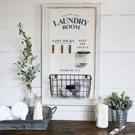 Large Laundry Board Organizer | Vintage Signs #laundrysigns