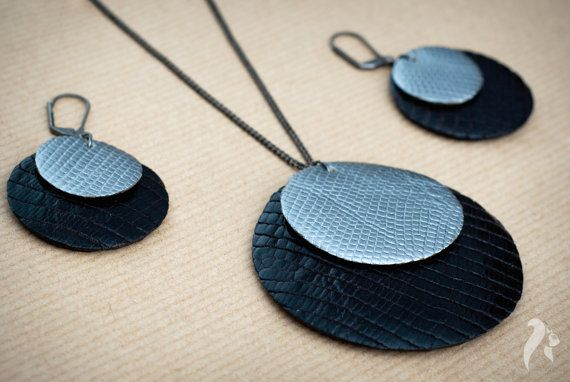 Simplicity leather set of pendant and earrings by NfSLeather, £25.00