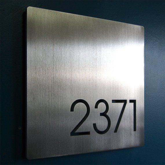 Custom Minimalist Square House Number Sign In Aluminum In 2018