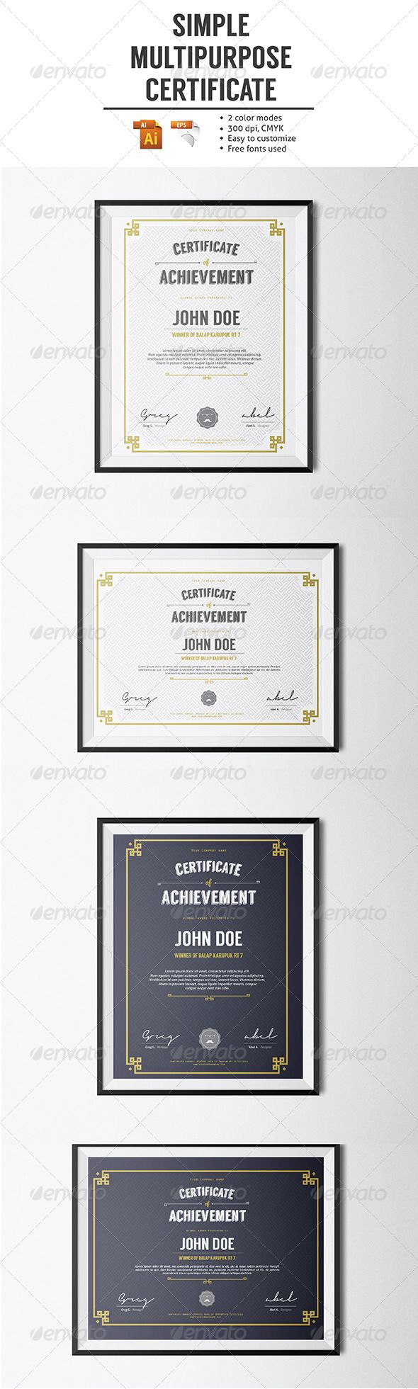 Simple Multipurpose Certificate  Certificate Certificate Design
