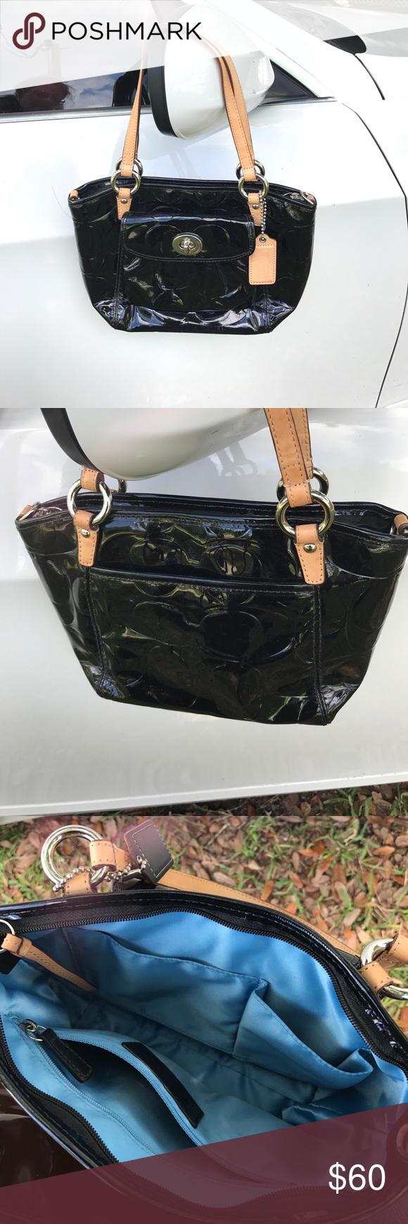 Coach black patent small bag Beautiful condition very close to new Coach Bags Mini Bags