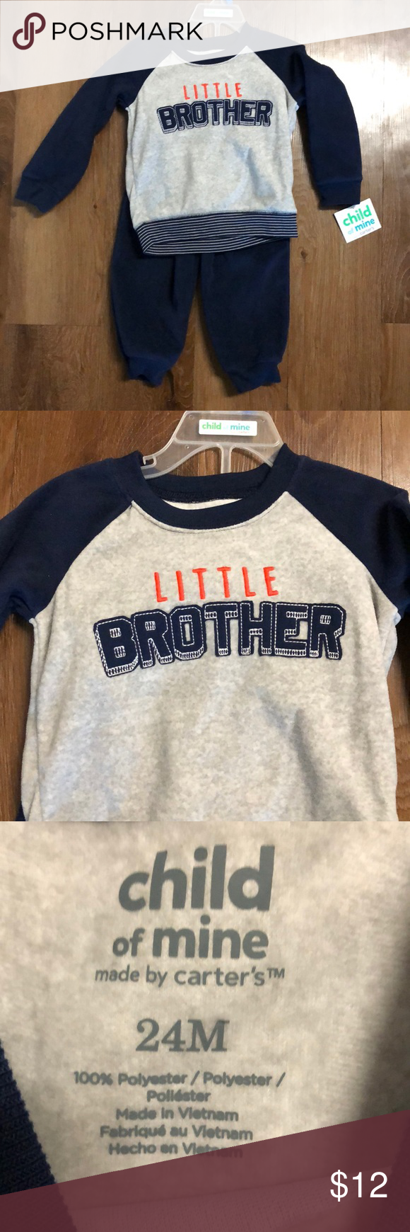 "2d2e81d27 NWT Carter's 24 month sweats Navy blue and gray ""little brother"" sweats  outfit. Brand new with tags. Carter's Matching Sets"