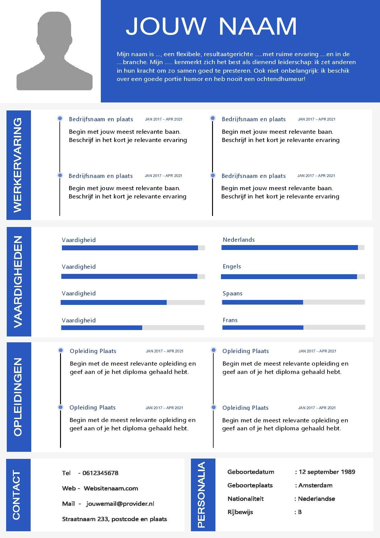 Word CV Template voorbeelden. Download een perfect CV
