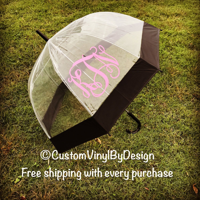 Monogram Umbrella, Clear Umbrella, Bubble Umbrella, Wedding Umbrella, Personalized Umbrella, Rain Umbrella, Free Two Day Priority Shipping by customvinylbydesign on Etsy