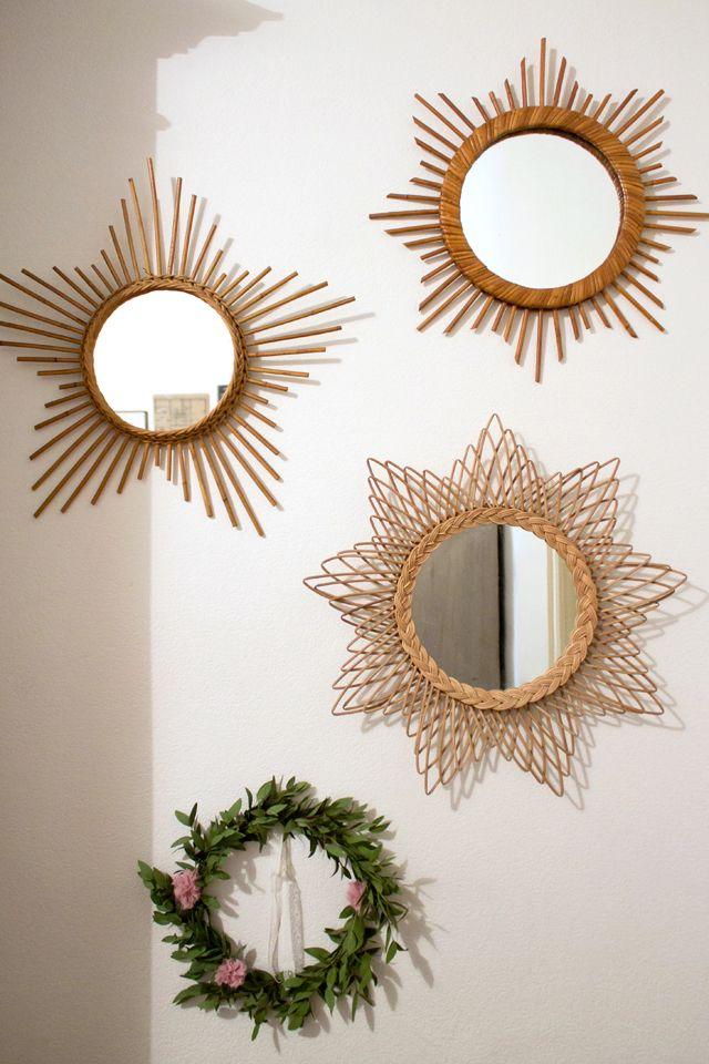 Vintage Miroirs En Rotin Chines Miroir En Rotin Idee Deco Mur Objet Deco