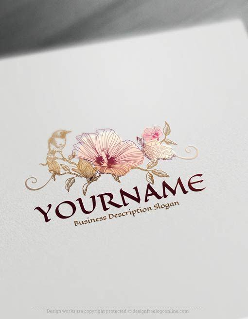 Create A Logo Free Vintage Bird Flower Logo Template Flower