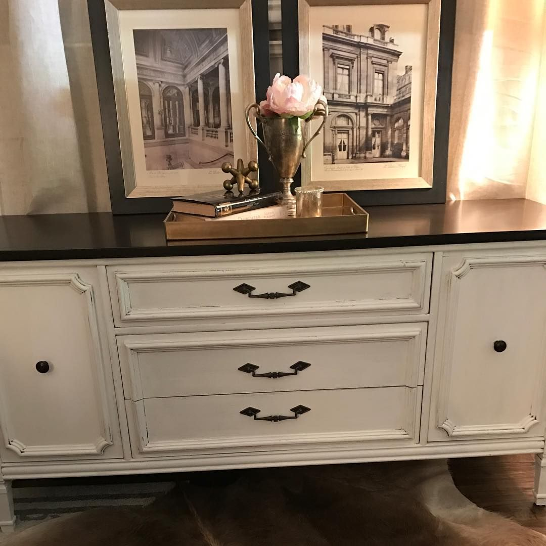 Vintage Hand Painted Dresser Buffet In White With Espresso Stained Top Very Dramatic Painted Pink Pe Trendy Farmhouse Kitchen White Dresser Farmhouse Dining