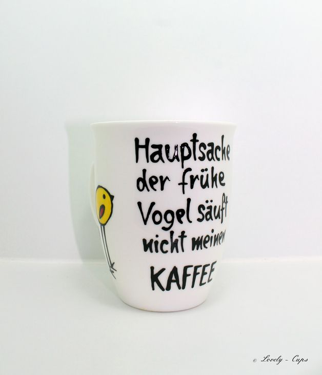 Schöne Tasse mit früher Vogel Spruch auf edler Kaffee Tasse, witzige Tasse mit…