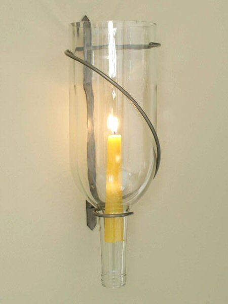 1.5 Liter Wine Bottle Spiral Taper Candle Holder Wall Sconce, Set of ...