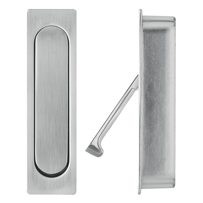 Delf Satin Chrome Edge Pull Sliding Door Handle Shower