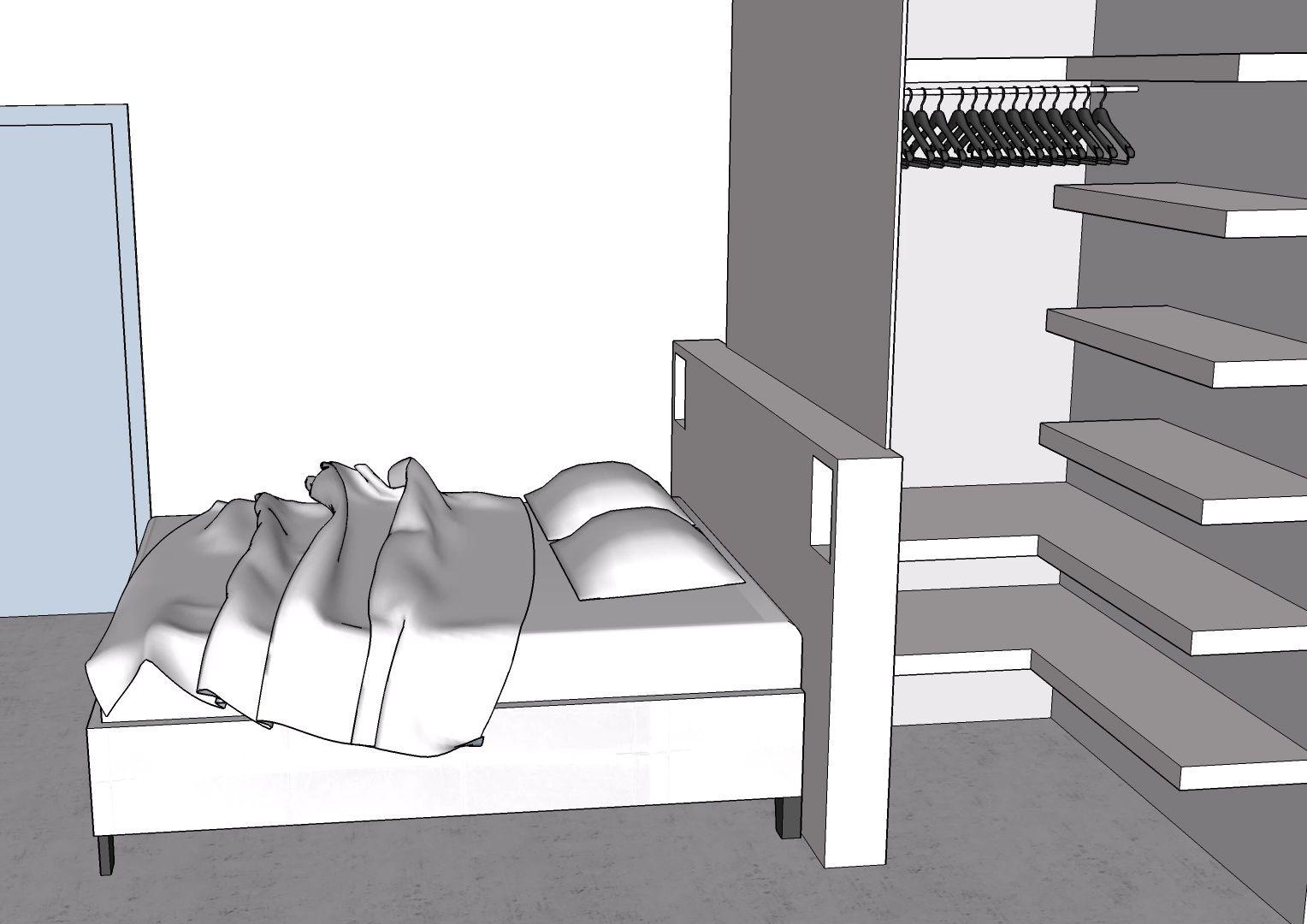 Fabriquer Un Dressing Dans Une Chambre le dressing est construit à l'arrière de la tête de lit. il