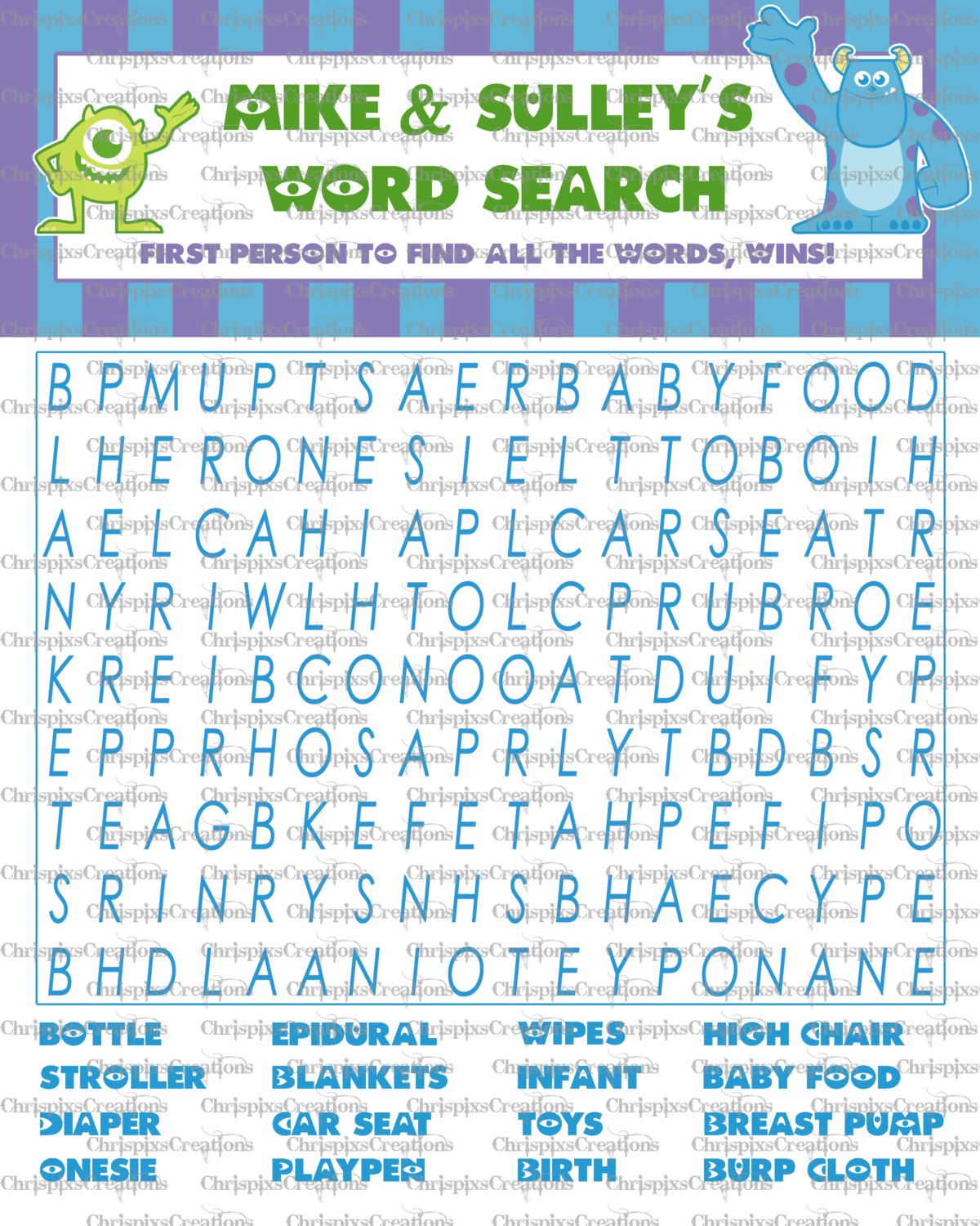 Instant Download Wordsearch Monsters Inc By