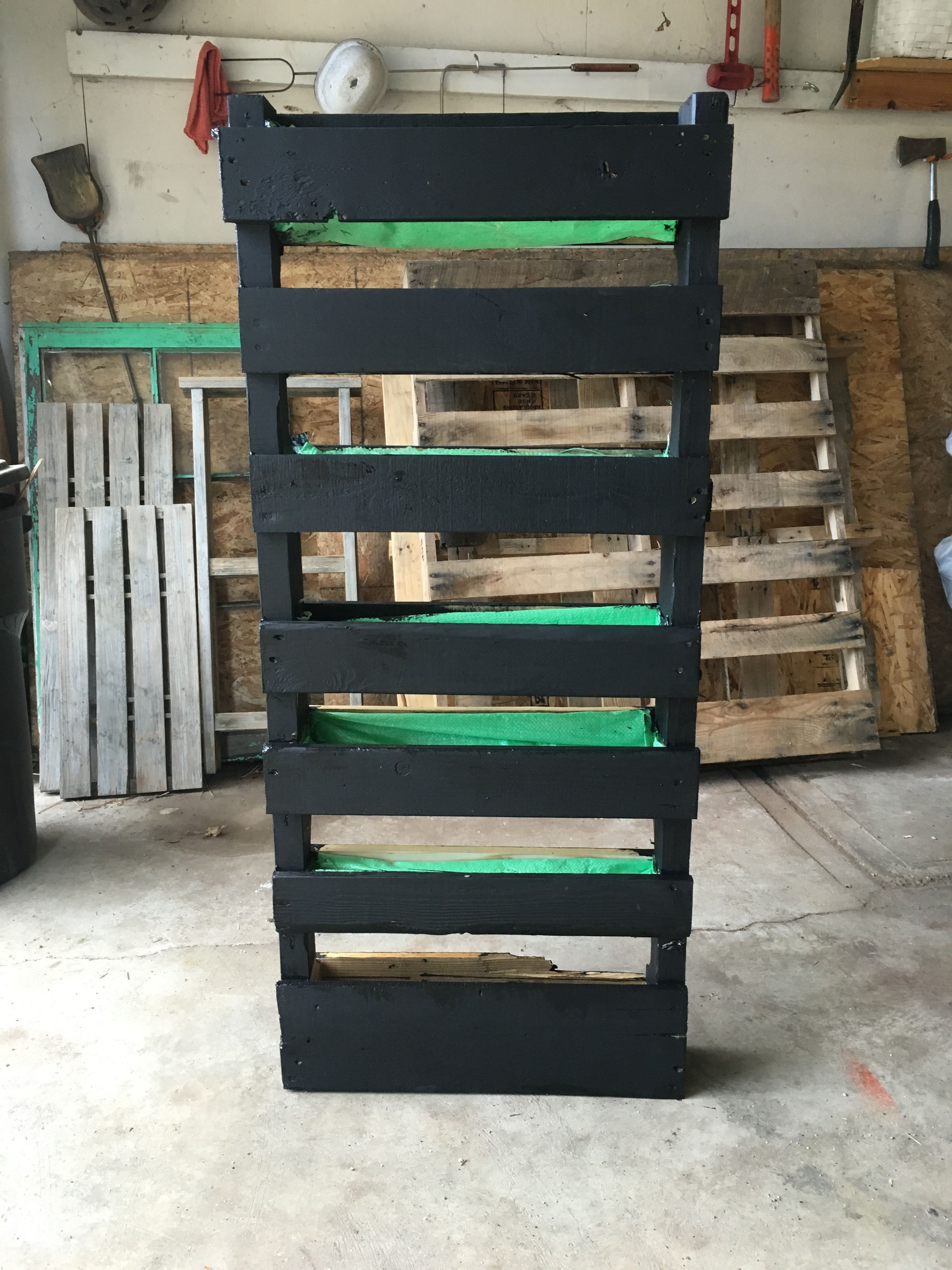 Planter I made today. Made from wood pallets, painted with ...