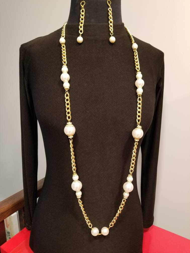 Chanel Necklace And Earrings Ichanel Inspired Gold Set Pearls
