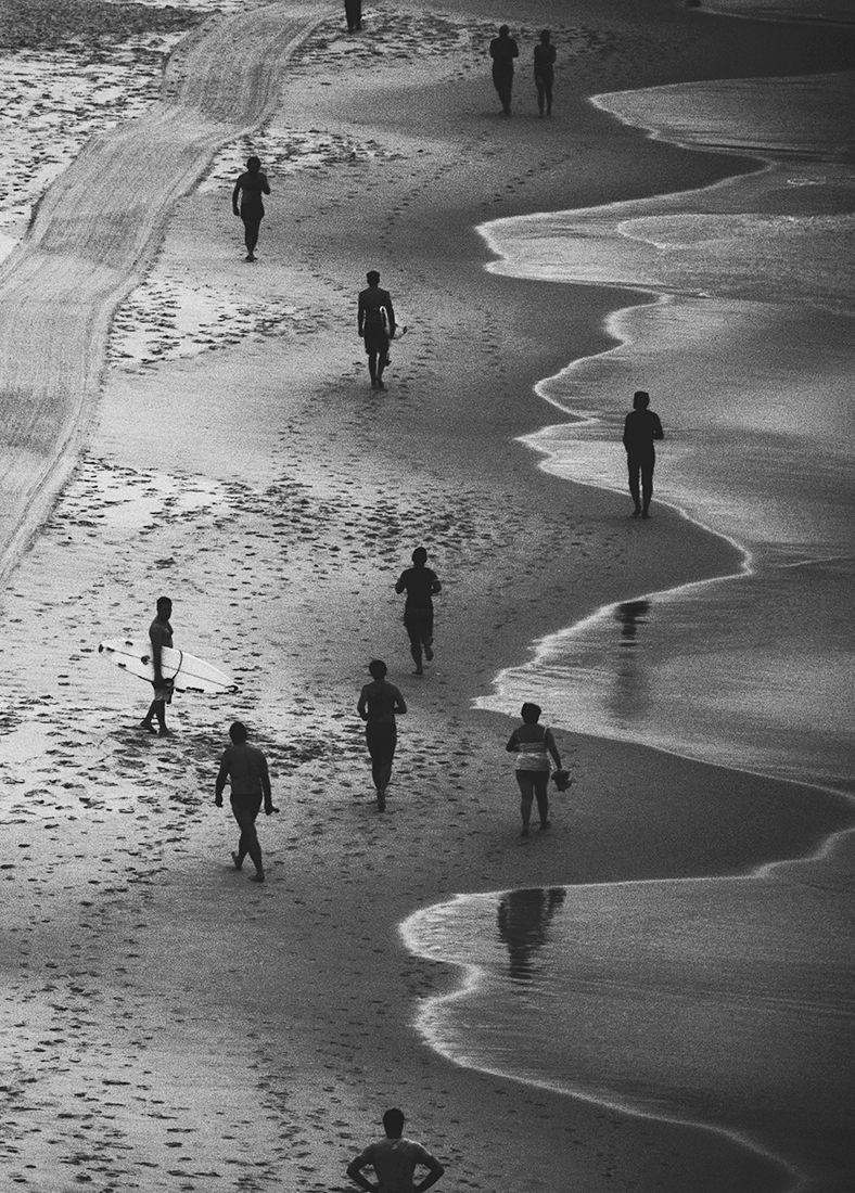 People sand bondi beach black white photography sydney