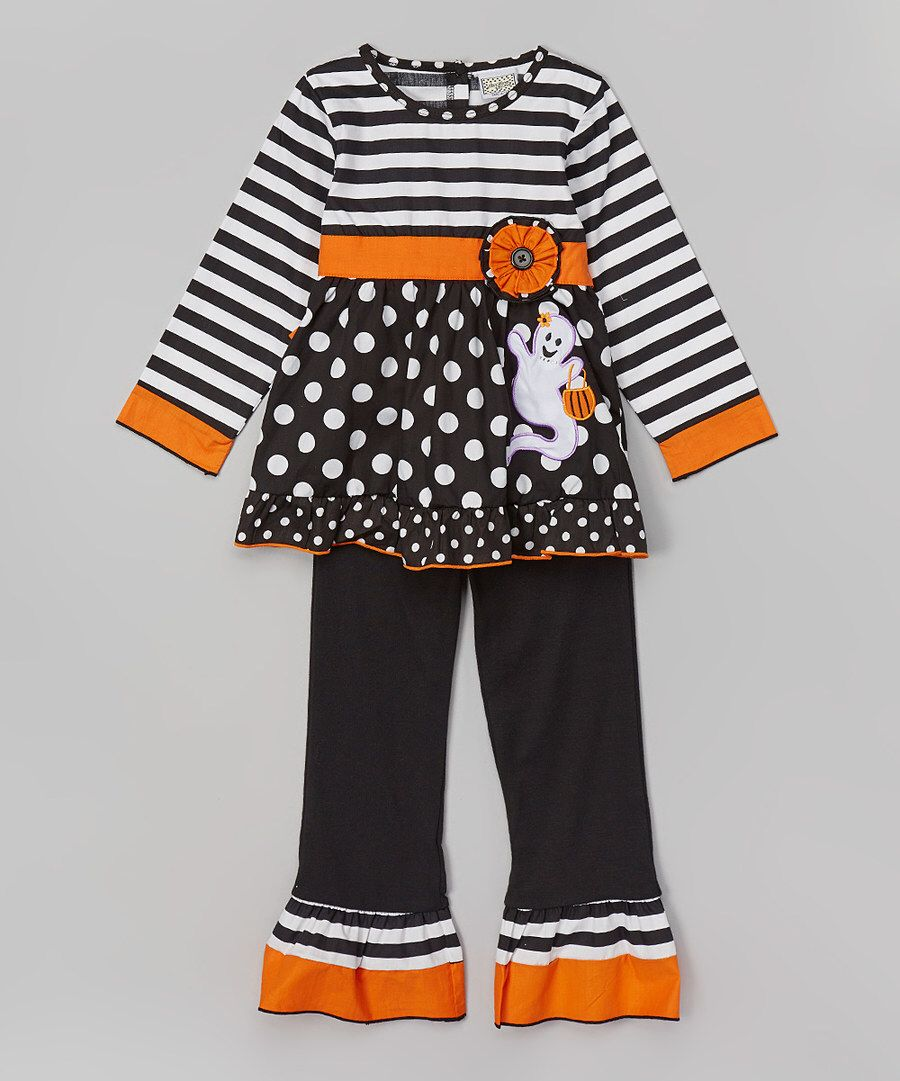 Look at this AnnLoren Black & White Ghost Tunic & Pants - Infant, Toddler & Girls on #zulily today!