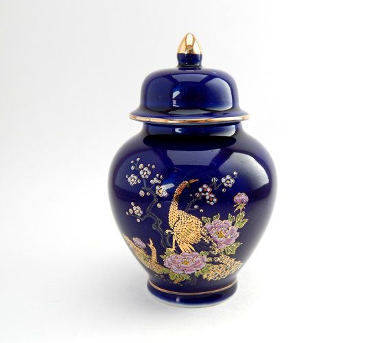 MINIATURE LIDDED VASE BLUE WITH FLORAL DESIGN