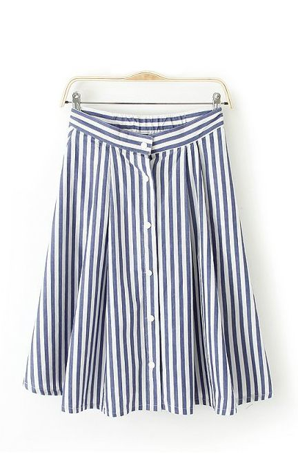 c538a65d86 Blue White Vertical Stripes Printing Buttons Decorated Skirt | Dress ...