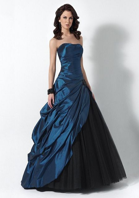 Strapless Tiered Ruffle Floor Length Taffeta Winter Dress £112.26 ...