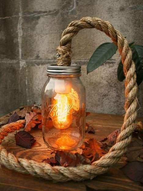 rope mason jar lights. Mason Jar Light At The End Of A Thick Rope Lights I