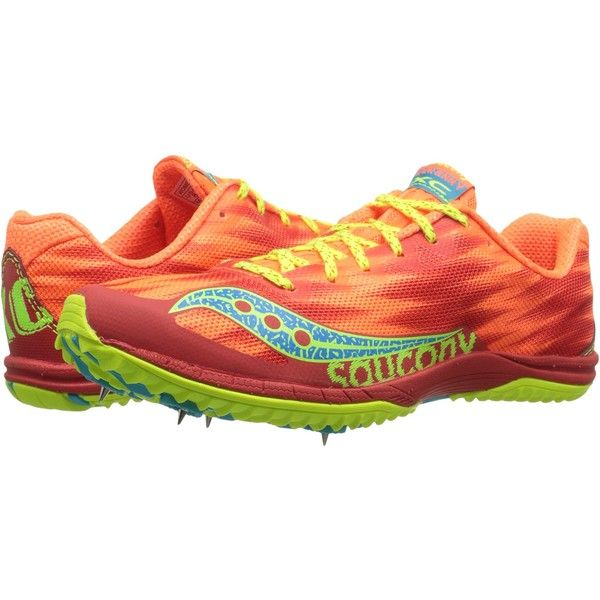 Saucony Kilkenny XC5 (Spike) (Vizi Orange/Citron) Women's Running... ($25)  ❤ liked on Polyvore featuring shoes, athletic shoes, pink, spiked shoes,  cross ...