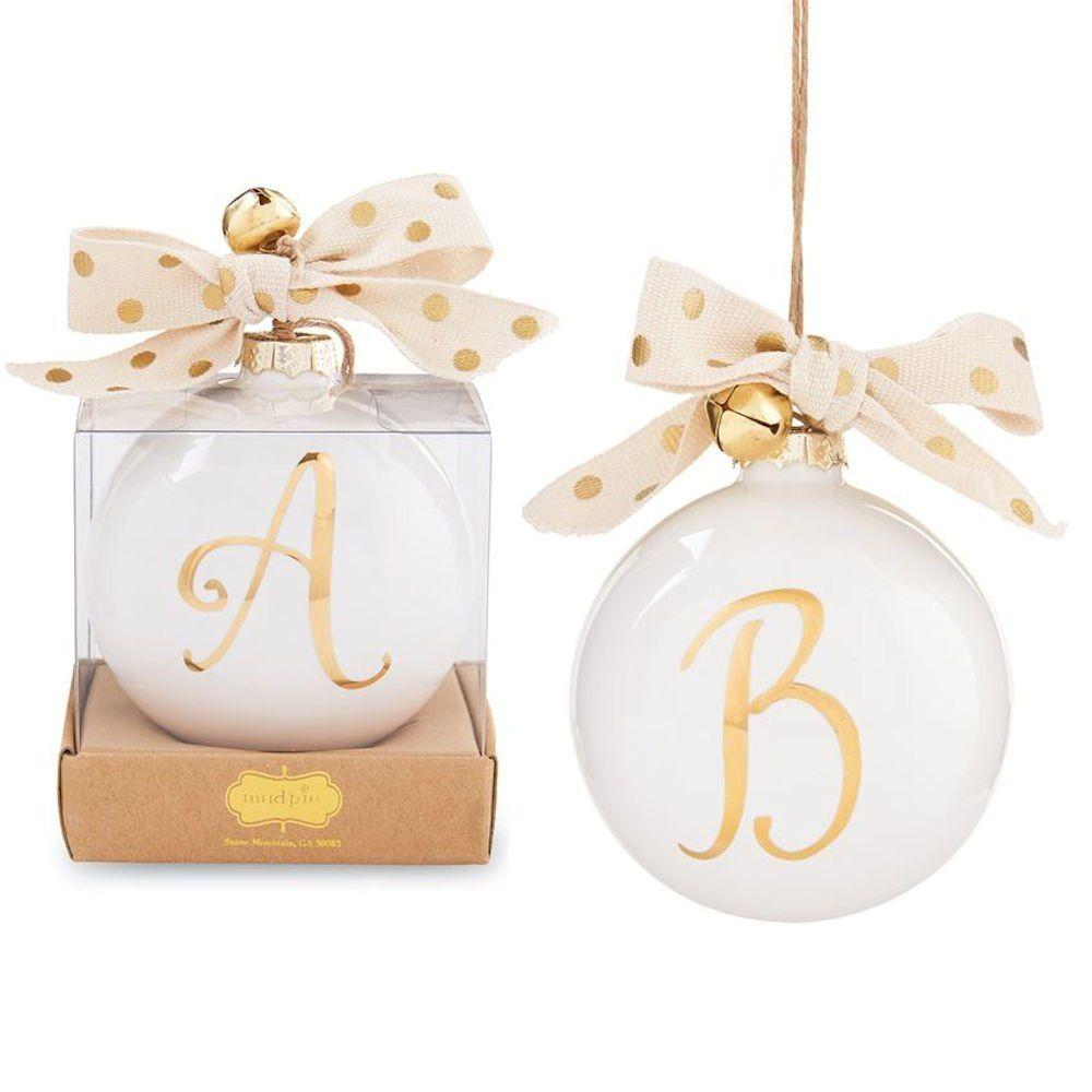 Amazon.com: Mud Pie Gold Initial Ornament (W): Home & Kitchen ...