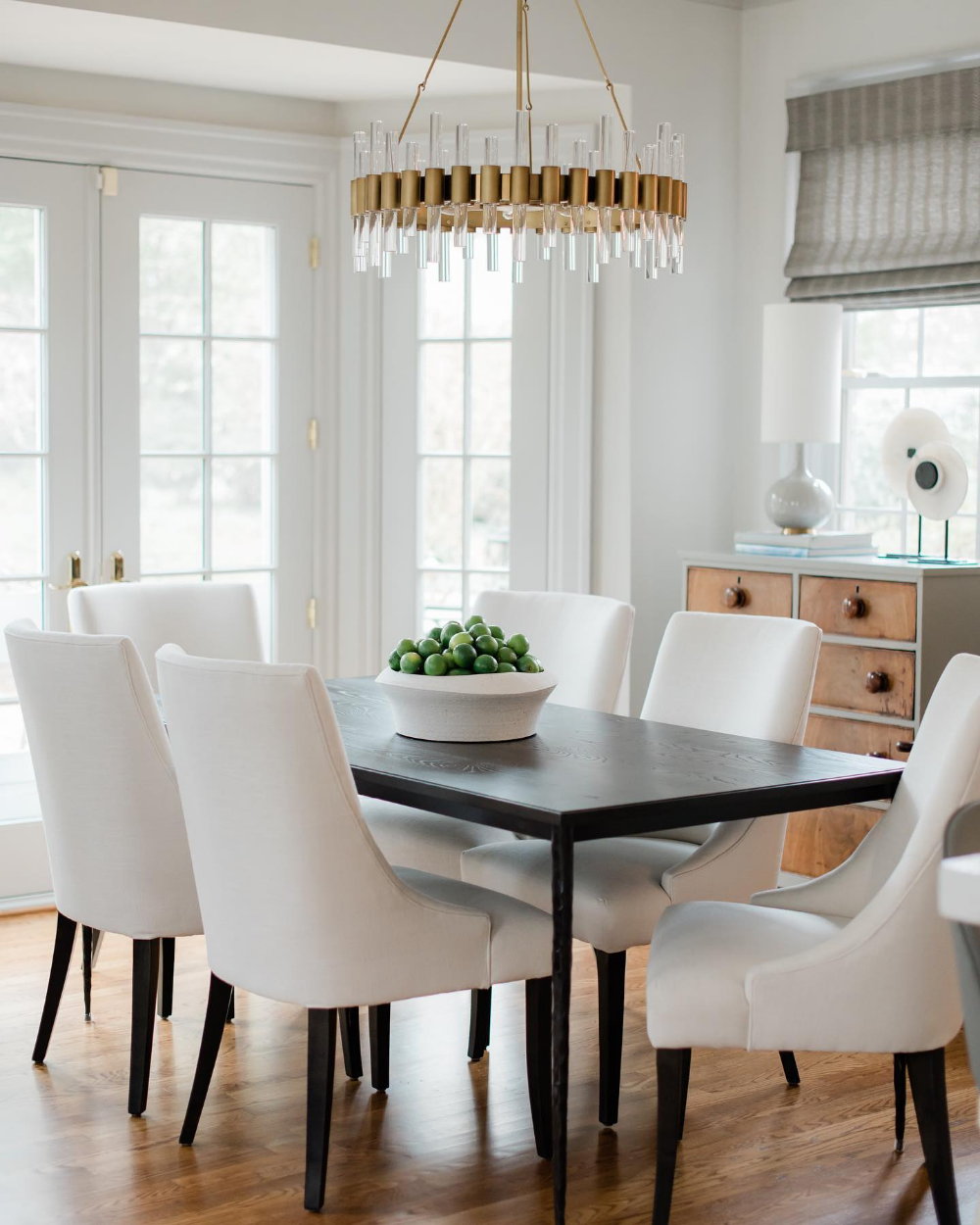 Acrylic Chandelier Elevates Transitional Dining Room Transitional Dining Room Transitional Chandeliers Home Decor
