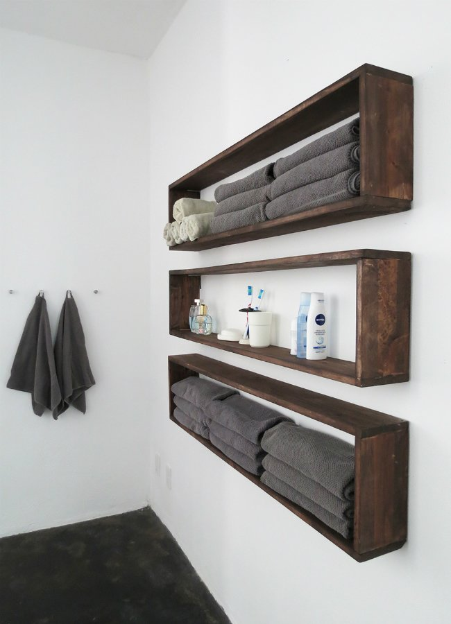 Photo of DIY Lite: Double Bathroom Storage with Easy-Build Box Shelves