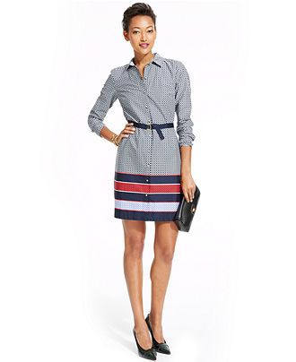 05481548368 Tommy Hilfiger Printed Colorblocked-Hem Belted Shirtdress - Dresses - Women  - Macy s