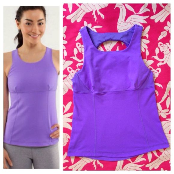 Lululemon Swank Tank Power purple - stock photo is best representation of color. Great preloved condition. No snags, rips, pilling or stains. Fabric is Luon and Luon light. Light support. Full coverage. Does not include cup inserts. No trades. No PayPal. lululemon athletica Tops Tank Tops
