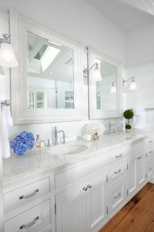 His hers master bathroom mirror double vanity dual for Master bathroom his and hers