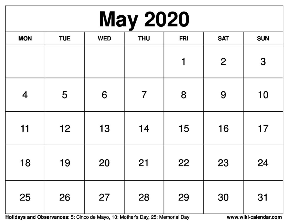 May 2020 Printable Monday Calendar May2020