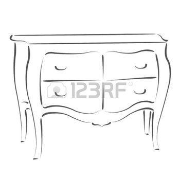 Armoire Dessin armoire dessin: poitrine sketched des tiroirs. modèle de conception