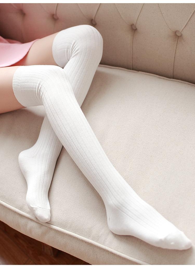 Over The Knee Thigh High Cotton Socks Stockings Leggings Women Ladies Girls  JP